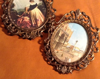 Pair of Miniature Victorian Pictures - Made in Italy