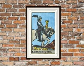 Knight of Cups Rider-Waite-Smith Tarot Card Deck Vintage Retro 1910 Art Reproduction Print Poster Small Medium