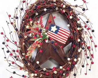 Americana Wreath, Patriotic Wreath, 4th Of July Wreath, Summer Wreath, Star Wreath, Berry Wreath, Rustic Wreath, USA, Prim Wreath
