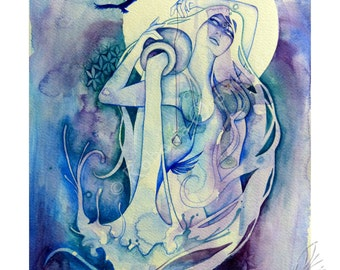 Aquarius Zodiac Goddess / Water Carrier / Air Elemental / Sacred Geometry / Star Sign / Astrology ~ Art Print by Roberta Orpwood