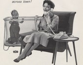 1960 Bell Telephone System Ad Babysitter Phone Call Mad Men Era Vintage Advertisement Black & White Photo Art Print