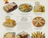 1960 Chiquita Bananas United Fruit Company Ad Recipe Ideas Photo Vintage Advertising Kitchen Wall Art  Decor