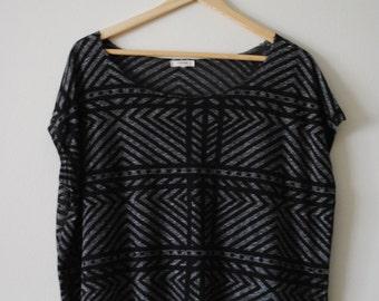 Black & Grey Geometric Top - Size Medium