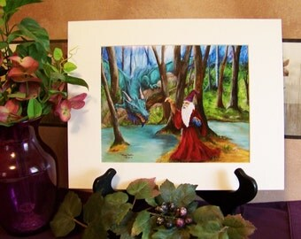 Dragon and Wizard Fantasy Art Print signed 8in x 10in