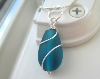 Teal Necklace - Blue Sea Glass Necklace - Sea Glass Jewelry - Dark Blue - Wire Wrapped Pendant Necklace - Wire Wrapped Jewelry
