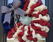 Patriotic Wreath; Red White and Blue Burlap Wreath, American Burlap Wreath; Summer Door Decor, Patriotic Burlap Wreath