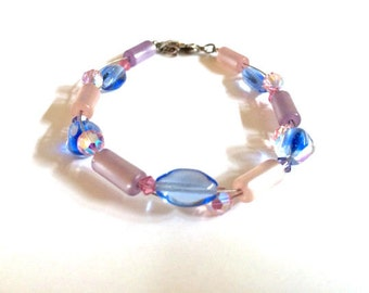 Beaded Pink and Blue Crystal Bracelet, Pastel Lavender and Mauve Beaded Bracelet