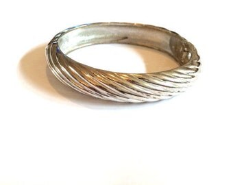 Swirl Silver Tone Clamper Bangle, Silver Tone Clamper Bracelet