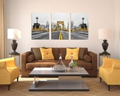 Black and Gold Pittsburgh Skyline North Shore Fog Float Mount Photo Metal Print Triptych Picture Photograph