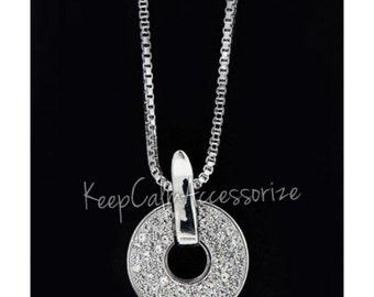 Circle of Life Silver Rhinestone Necklace