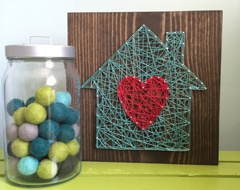 MADE TO ORDER String Art Home is Where the Heart Is Sign