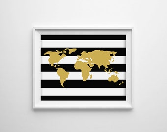 World Map, Black White and Gold Map, Wanderlust, Travel Poster, Map Print, Office Decor, Dorm Room, Bedroom, 8x10 Digital Print