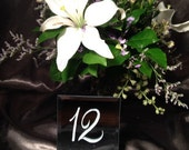 "Mirror Table Numbers, 6"", Hand Painted, assort. Shapes/Colors and Customizable"