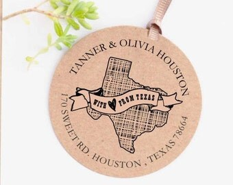 Address Stamp - Texas  Stamp - Return Address Stamp - Custom Rubber Stamp - With Love From Stamp - Personalized Stamp CS-10189