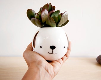 Dog ceramic succulent planter, Cute animal planter, Face plant pot, Succulent planter, Ceramic animal planter, Ceramics pottery, Dog planter