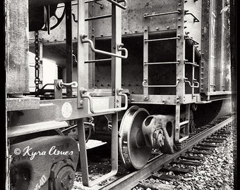 Train Depot III - fine art. photography. wrapped canvas. black and white. vintage. historic. canvas wall art. train. old