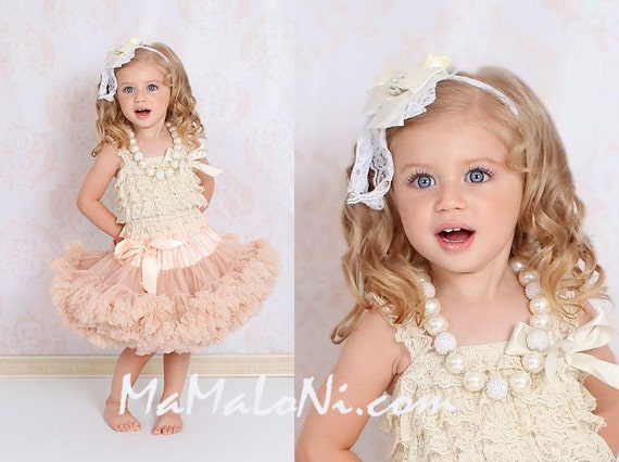 baby petticoat dresses, 4pcs Girls Tutu Dress Set: ruffle PREMIUM Cream Gold pettiskirt tutu, headband, romper, necklace; Birthday outfit, Flower Girls party Dress