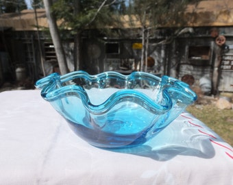 Sapphire BLue Vintage Fluted Top Glass Dish