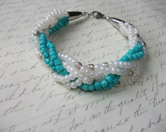 White and turquoise braided seed bead bracelet