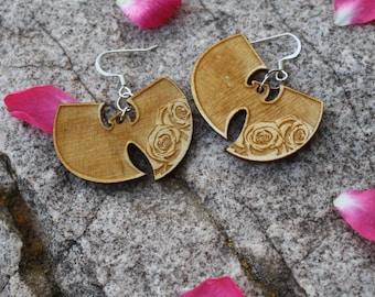 Wu-Tang Forever Rose  Wood Earrings