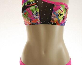 Exotic Dancewear Splash print 2 piece set
