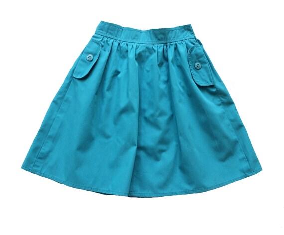 Vintage 70 39 s enfant jupe bleu turquoise fonc for Bleu turquoise fonce