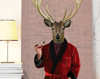 Deer in Smoking Jacket - Poster Art Print deer Illustration Acrylic Painting deer print Wall Decor Wall hanging Wall Art gift for men him
