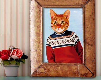 Ginger Cat Art Print - Ski sweater - ginger cat poster ginger cat wall decor ginger cat illustration cat lover gift for friend Nursery Art
