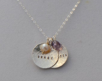 Sterling Silver Two Disc Name Necklace - Personalized Necklace