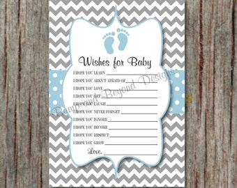 Baby Shower Games Wishes for Baby Printable Baby Shower Game Instant Download Powder Blue Grey Baby Feet Dear Baby Boy 87
