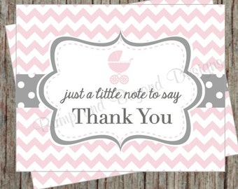 Baby Shower Printable Thank You Cards Stroller Baby Carriage Thank You Cards Instant Download Powder Pink Grey Thank Yous - 013
