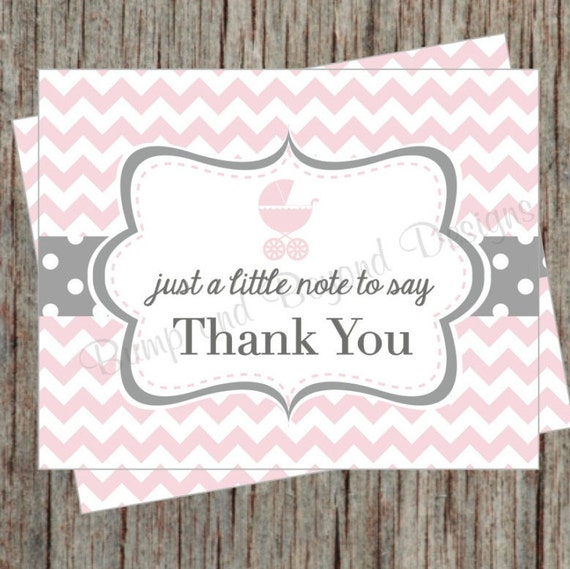 baby shower printable thank you cards stroller baby carriage thank you