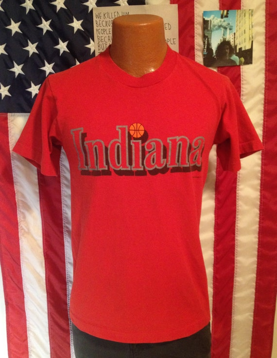 Vintage 80s iu basketball t shirt indiana university for Retro basketball t shirts