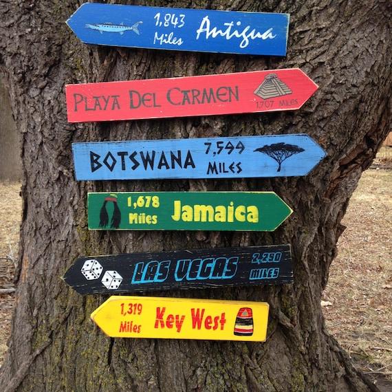 Panneau directionnel en bois personnalisé 6 Pack par CurioObscurio # Panneau Directionnel Bois