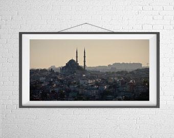 Fine Art Photography Print - Landscape, Panorama, City, Black and White -  The Istanbul Skyline - Turkey