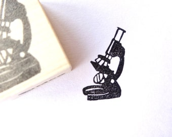 Microscope Rubber Stamp, Biology Stationery, Educational Stamp, Gift For Him
