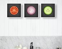 Set of 3 kitchen prints. Vegetables kitchen prints Vegetables poster Tomato poster vegetable poster vegetables prints housewarming present