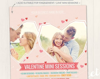 Valentine Mini Session / Photography Marketing Board  - Photoshop Template for photographers (DM18) - INSTANT DOWNLOAD