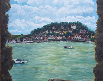 Torquay England Vintage Style Beach Town Original British Original Painting Sail Boats Handmade Art by ChantelKeiko 48x36
