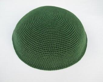 Green Kippah. Handmade Crochet Kippah. Hand knitting Yarmulke. Green Cotton Yarn. Plain Dark Green Kippah. Everyday Kippah. Green Yarmulke.