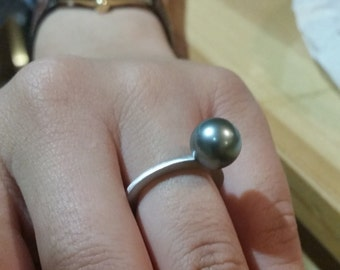 Silver pearl ring,Black pearl ring,Trendy pearl ring,Swarovski black pearl ring,Rose gold pearl ring ,
