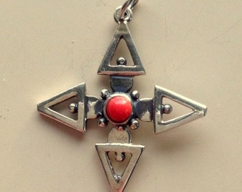 Sterling Silver and Coral Hallmarked Pendant -  Pheon Cross Symbol Pendant