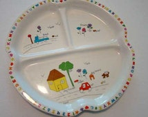 Vintage child's dish, melamine ware dish, children's dish, child's plate, plastic dish, sectional dish, kids divided plate