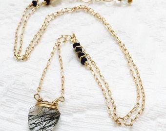 Rutilated Quartz Arrowhead Gemstone Necklace Tourmilated Quartz Black Spinel Crown Chakra Illumination Samadhi Enlightenment Bridal