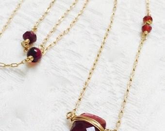 Garnet Chakra Necklace, Muladhara Root Chakra Pendant Necklace, Grounding, Stability, Prosperity,  January Birthstone, Wedding Gift