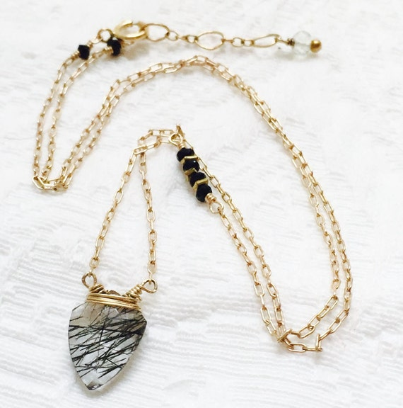 Rutilated Quartz Arrowhead Gemstone Necklace Tourmilated Quartz Black Spinel Crown Chakra Illumination Samadhi Enlightenment Bridal