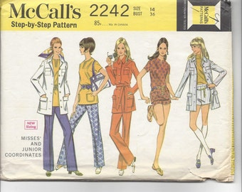 1960s McCall's #2242, Jacket, Top and Pants or Shorts Set, Retro Mod Pantsuit, Sewing Pattern, Misses Size 14, Bust 36