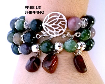 Memory Inspiration Creativity Set of 3 Earth Natural Colors Stretch Bracelets Gemstones Green Opal Red Agate Nature Growth