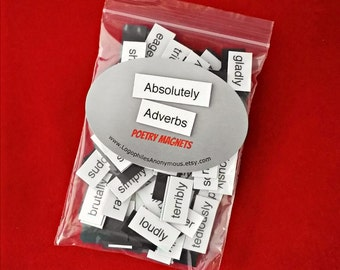 Absolutely Adverbs Poetry Magnet Set - Refrigerator Poetry Magnets