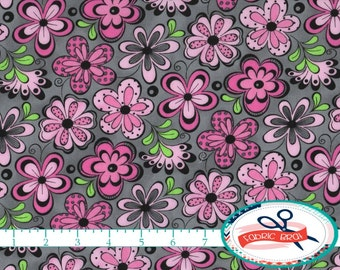PINK & GRAY FLORAL Fabric by the Yard, Fat Quarter Pink Fabric Madison Fabric Quilting Fabric 100% Cotton Fabric Apparel Fabric Yardage t6-5